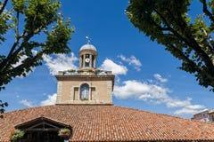 市场陶醉的,法国霍尔尖沙咀钟楼 免版税库存照片