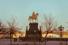 市德累斯顿 中心历史 秋天晚上在德累斯顿 图库摄影