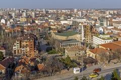 市惊人的全景哈斯科沃-从圣母玛丽亚,保加利亚的纪念碑 免版税库存图片