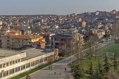市惊人的全景哈斯科沃-从圣母玛丽亚,保加利亚的纪念碑 免版税库存照片