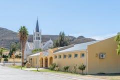 市政厅和荷兰语在Barrydale改革了教会 图库摄影