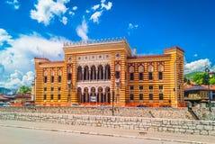 市政厅在萨拉热窝,欧洲 库存图片