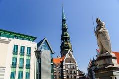 市政厅广场,里加,拉脱维亚 免版税图库摄影