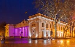 市政厅晚上傲德萨 免版税图库摄影