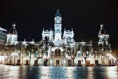 市政厅晚上巴伦西亚 免版税库存图片