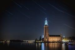 市政厅晚上斯德哥尔摩 图库摄影