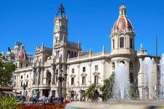 市政厅西班牙巴伦西亚 免版税库存照片