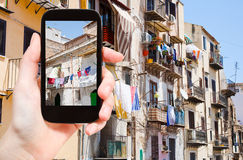 市政房子旅游采取的照片在巴勒莫 库存照片