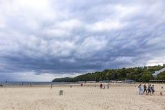 市政海滩在格丁尼亚,波罗的海,波兰 库存照片