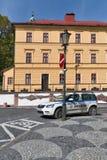 市政警车在Banska Stiavnica,斯洛伐克 库存图片