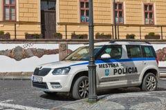 市政警车在Banska Stiavnica,斯洛伐克 免版税库存照片