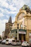 市政议院和他们的艺术nouveau门面 免版税图库摄影