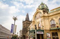 市政议院和他们的艺术nouveau门面 免版税库存照片