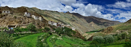 市政Gonpa佛教徒修道院位于在高峭壁和豪华的植被, Zanskar, Hima中的一个绿色山坡 免版税库存照片