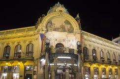 市政House (1912)艺术nouveau样式的--是一个主要地标和音乐厅在布拉格,捷克 免版税图库摄影