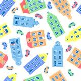 市民房子五颜六色的门面,汽车在白色背景,欧洲人代表的传染媒介例证  图库摄影