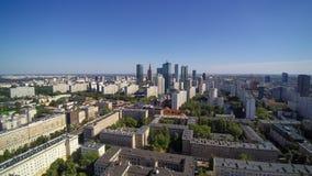 市的全景华沙在从空气采取的波兰 库存图片