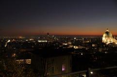 市的全景有太阳的光的布雷西亚 免版税图库摄影