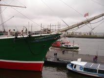市的全景汉堡 易北河的看法在汉堡 免版税库存图片