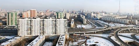 市的全景莫斯科在冬天 库存照片