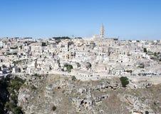 市的全景马泰拉,意大利 免版税库存图片