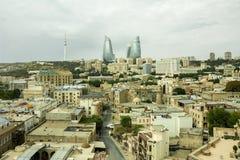 市的全景巴库,阿塞拜疆 免版税库存图片