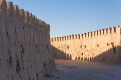 市的城市墙壁Khiva在乌兹别克斯坦 免版税库存照片