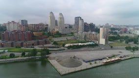 市的堤防德聂伯级,鸟瞰图 股票录像