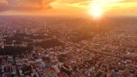 市的大全景Podol的基辅在日落 库存图片