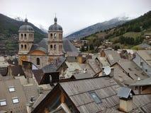 市的屋顶的视域Briançon在法国 免版税图库摄影