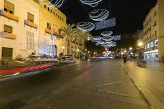 市的市政厅广场埃尔切,有圣诞节装饰的 免版税图库摄影