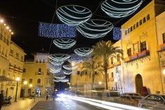 市的市政厅广场埃尔切,有圣诞节装饰的 免版税库存图片