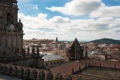 市的看法从屋顶的孔波斯特拉的圣地牙哥它 库存图片