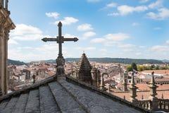 市的看法从屋顶的孔波斯特拉的圣地牙哥它 图库摄影
