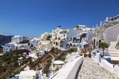 市的看法在圣托里尼海岛上的Oia在希腊 图库摄影
