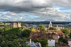 市空中全景罗切斯特在肯特,英国 免版税库存照片
