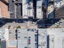 市空中寄生虫鸟` s眼睛视图罗利, NC 库存图片