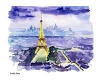 巴黎市视图的水彩手拉的五颜六色的例证 库存照片
