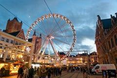 市跟特在圣诞节期间的比利时 库存图片
