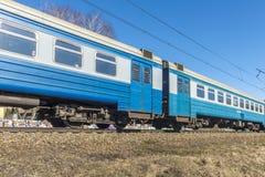 市郊火车在莫斯科附近的俄罗斯 库存照片