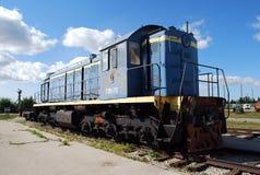 市陶里亚蒂 K技术博物馆  g sakharov 博物馆TEM1苏联转轨的机车的展览 免版税库存照片