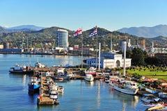 巴统市,乔治亚口岸的顶视图  免版税图库摄影