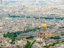 巴黎市,法国鸟瞰图  库存图片