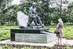 市Birsk 对在热点跌倒的战士的一座纪念碑 库存图片