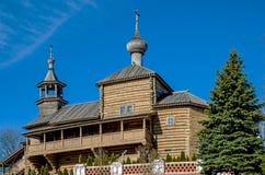 市Borovsk,木教会 库存图片