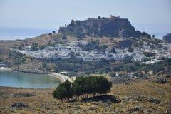 市Lindos,希腊 免版税库存照片