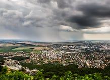 市Nitra从上面 免版税库存图片