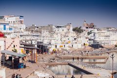 市Pushkar,拉贾斯坦,印度的视图 库存图片