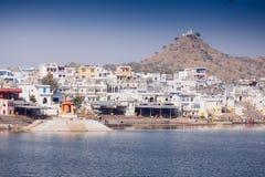 市Pushkar,拉贾斯坦,印度的视图 图库摄影
