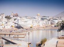 市Pushkar,拉贾斯坦,印度的视图 免版税库存图片